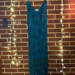 Long Ombré Teal Maxi Dress size 14